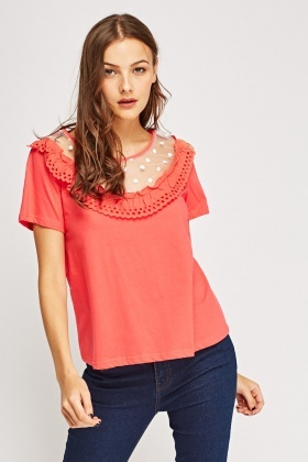 Mesh Insert Fringed Top