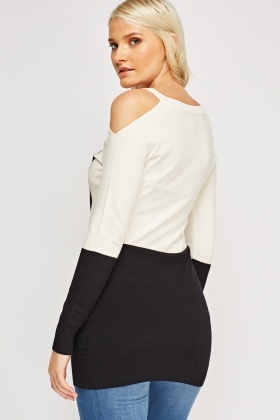Colour Block Cold Shoulder Jumper