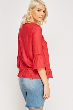 Dark Red Flared Top