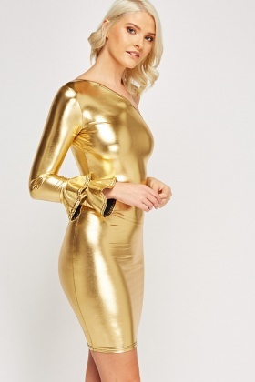 Gold Holographic One Shoulder Bodycon Dress