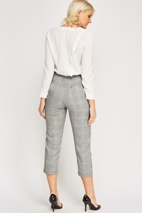 Houndstooth High Waist Trousers