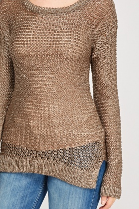 Loose Knit Metallic Long Jumper