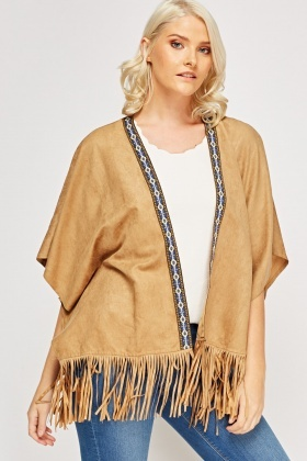 Suedette Embroidered Cardigan
