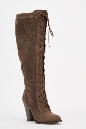 Knee High Lace Up Front Boots