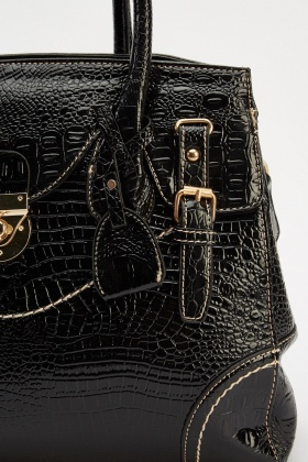 Mock Croc Detailed Bag