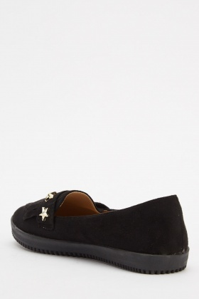 Star Fringed Suedette Flats