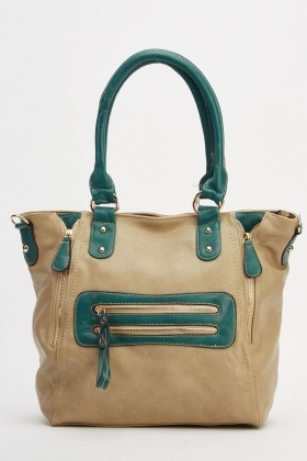 Two Tone Zip Detail Handbag
