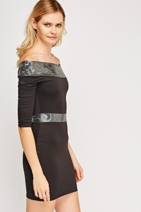 Holographic Contrast Off Shoulder Dress