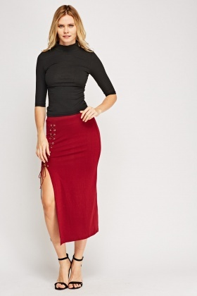 Lace Up Side Midi Skirt