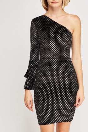 Polka Dot Velveteen One Shoulder Dress
