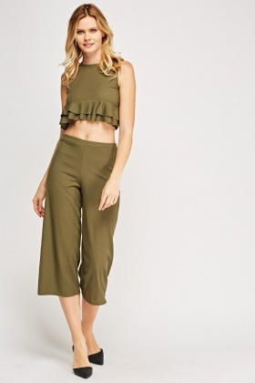 Ribbed Top And Culottes Set