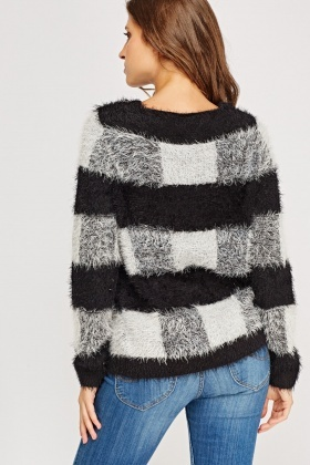 Check Grid Eyelash Jumper