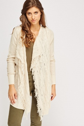 Fringed Trim Knitted Cardigan