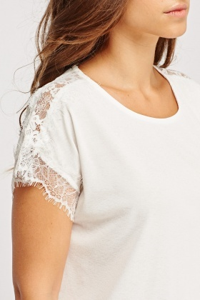 Lace Sleeve Casual T-Shirt