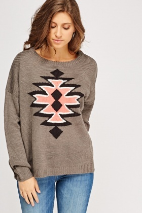 Print Front Knitted Jumper