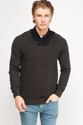 Ribbed Panel Thin Jumper