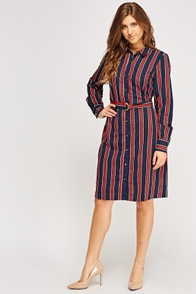 Stripe Belted Midi Shirt Dress