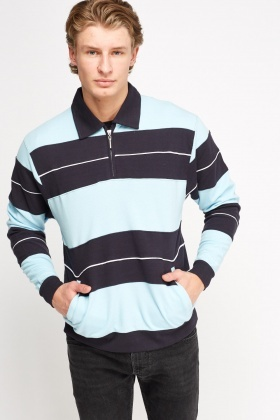 Zip Neck Textured Stripe Shirt