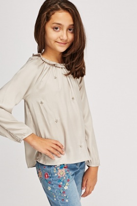 Beaded Frilled Collar Blouse