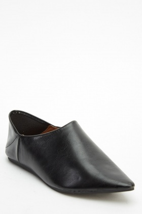 Court Faux Leather Flat Shoes