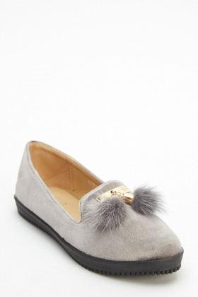 Detailed Velveteen Front Loafers