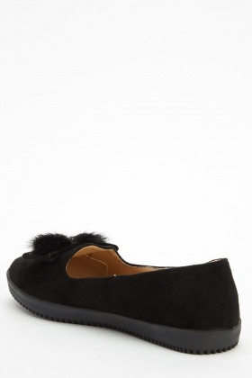 Faux Fur Contrast Bow Flat Shoes