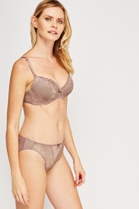 Flower Laser Cut Overlay Push Up Bra And Brief Set