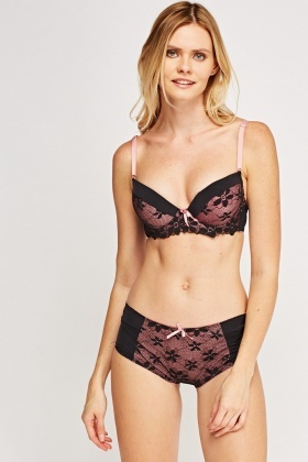 Lace Balconette Bra And Brief Set