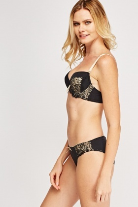 Laced Balconette Bra And Brief Set