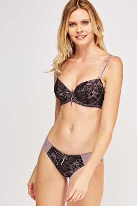 Metallic Laced Overlay Balconette Bra And Brief Set