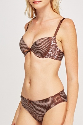 Striped Lace Overlay Bra And Brief Set