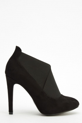 Suedette Elasticated Pump Heels