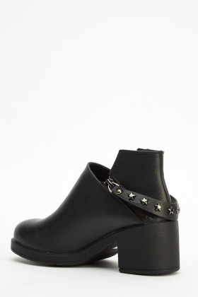 Zip Back Faux Leather Heeled Boots