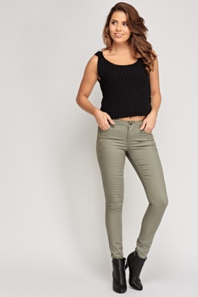 Embroidered Side Grey Jeans