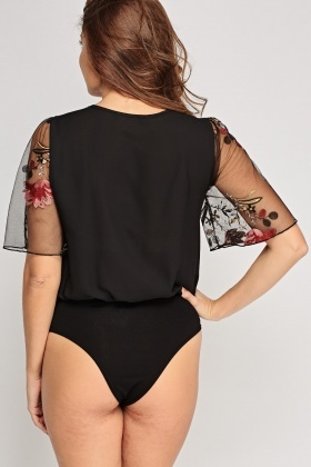 Mesh Insert Embroidered Bodysuit