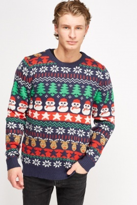Mix Print Christmas Sweater
