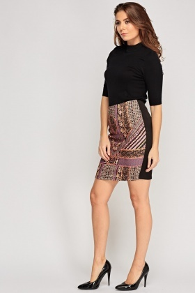 Printed Front Basic Skirt