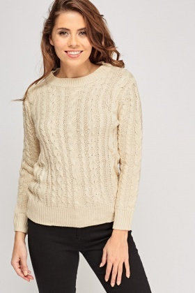 Ribbed Trim Cable Knit Jumper