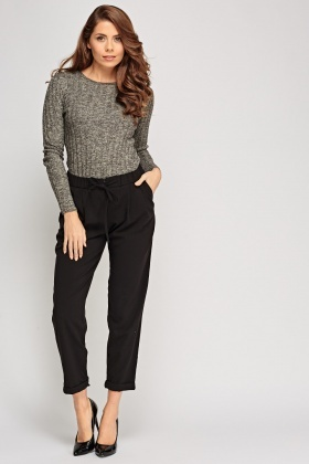 Straight Leg Black Cropped Trousers
