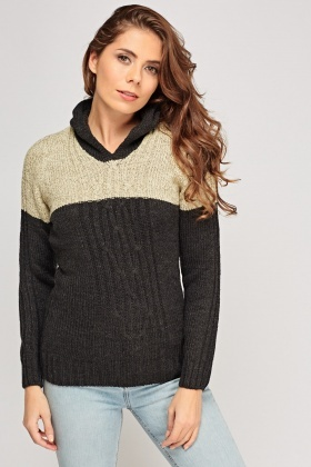 Two Tone Knitted Jumper
