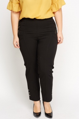Button Detail Elasticated Trousers