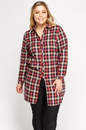 Checked Red Longline Shirt
