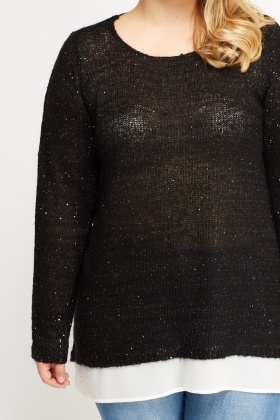 Contrast Sequin Jumper