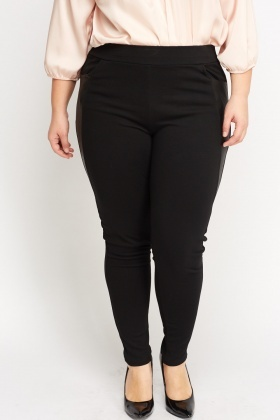 Faux Leather Insert Leggings