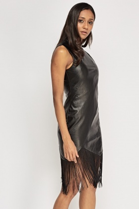 Faux Leather Tasseled Hem Dress