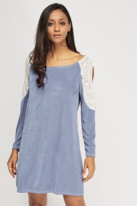 Lace Cold Shoulder Contrast Dress