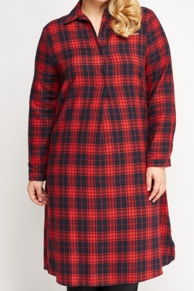 Red Checked Basic Shirt Dress