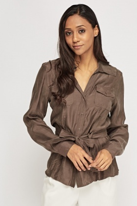 Silky Tie Up Shirt
