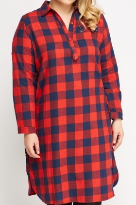 Slit Side Checked Grid Shirt Dress
