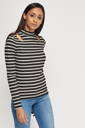 Turtle Neck Striped Top